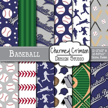 Purple and Gray Baseball Digital Paper 1450