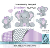 Purple and Gray Elephant peanut clip art