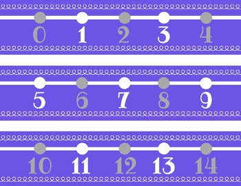 Purple and Gray Number Line Decor