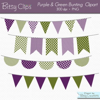 Purple and Green Bunting Clipart Digital Art Set Banner