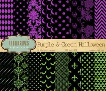 Purple and Green Halloween Digital Scrapbook Paper Pack