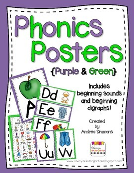 Purple and Green Phonics Posters