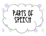 Purple and Green Polka Dot Parts of Speech Posters