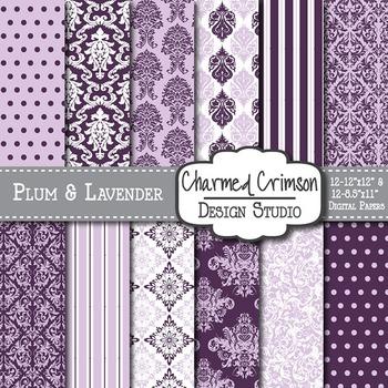 Purple and Lavender Damask Digital Paper 1318