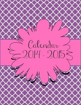 Purple and Pink Calendar July 2014 - July 2015
