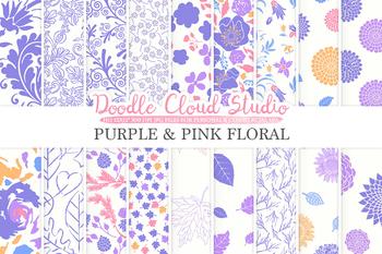 Purple and Pink Floral digital paper, Pink Purple White Orange Floral patterns