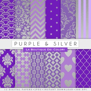 Purple and Silver Digital Paper, scrapbook backgrounds