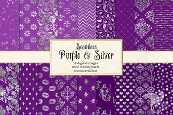 Purple and Silver Digital Paper, seamless silver foil backgrounds and patterns
