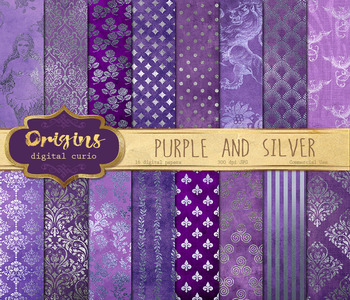 Purple and Silver Digital paper backgrounds, silver foil p
