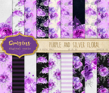 Purple and Silver Floral Digital paper, glitter rose bouquet backgrounds