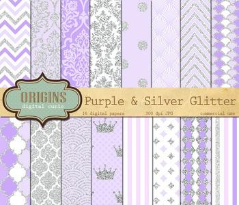 Purple and Silver Glitter Digital Paper Pack