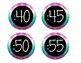 Purple and Teal Chevron Clock Labels
