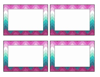 Purple and Teal Chevron Labels