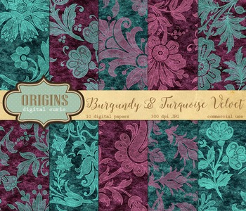 Purple and Teal velvet digital paper texture background patterns