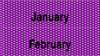 Purple and Turquoise (Black Letters) Polka Dot Calendar