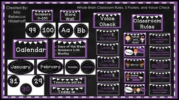 Purple and White Chalkboard Theme Classroom