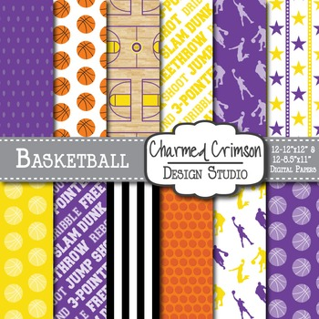 Purple and Yellow Basketball Digital Paper 1270