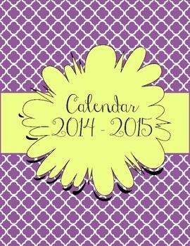 Purple and Yellow Calendar July 2014 - July 2015