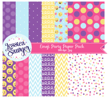 Purple and Yellow Emoji Digital Papers or Backgrounds