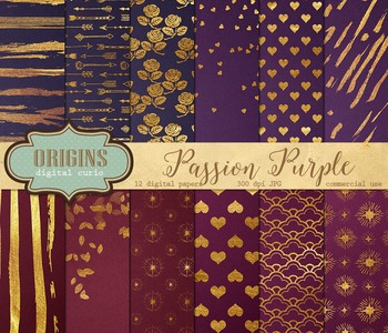 Purple and gold paint digital scrapbooking paper backgrounds valentines day