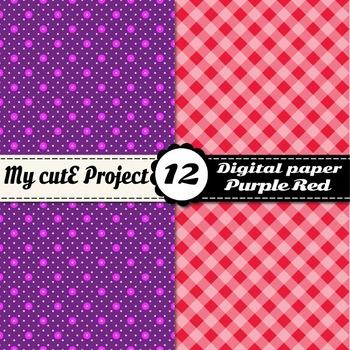 Purple and red - DIGITAL PAPER - Red stripes, purple polka dots, red gingham...