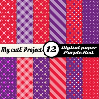 Purple and red - DIGITAL PAPER - Red stripes, purple polka