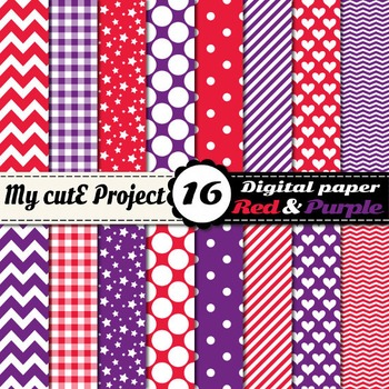 "Purple and red - DIGITAL PAPER - Scrapbooking - A4 & 12x12""- stripes, hearts..."