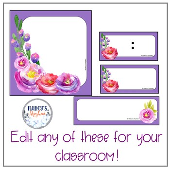 Purple flowers daily schedule and table numbers EDITABLE with flowers