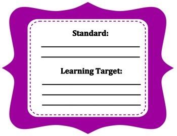 Purple learning center/task sign