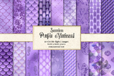 Purple mermaid digital paper, seamless mermaid scale patte