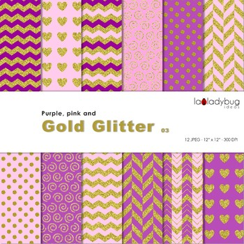 Purple, pink and golden Wallpapers. Golden digital papers. Backgrounds.