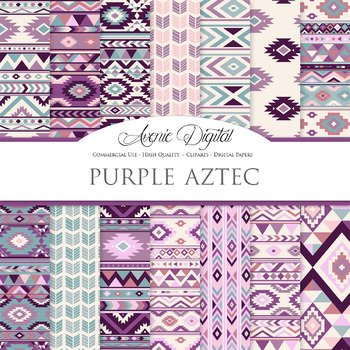 Purple red aztec Digital Paper arrows tribal patterns scra