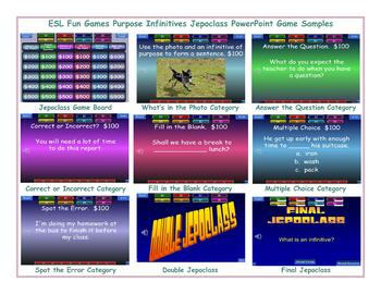 Purpose Infinitives Jeopardy PowerPoint Game
