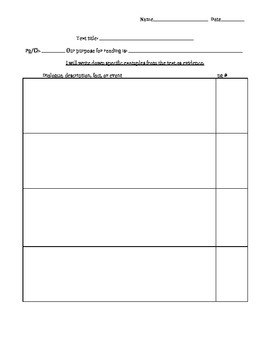 Purpose for Reading/Textual Evidence Graphic Organizer