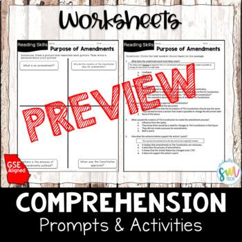 Purpose of Amendments Reading & Writing Activity (SS5CG2, SS5CG2b)