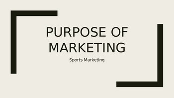 Purpose of Marketing Introduction PowerPoint