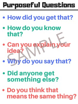Purposeful Questions in Math Class - Anchor Chart