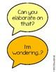 Purposeful Talk Sentence Starter Display