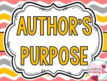 Author's Purpose for Writing