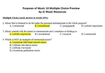 Purposes of Music Multiple Choice