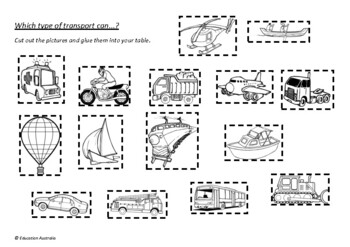 Purposes of Transport Sort - Land, Sea and Air - Classifying - Test
