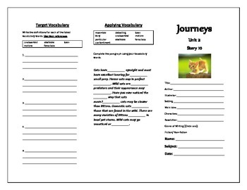 Journeys Grade 5 Trifold (Purr-fection)