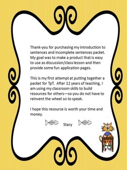 Purrfect Punctuation:working with sentences and fragments