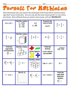 Pursuit for Mathletes - A Whole Group Math Activity to Get to Know Classmates