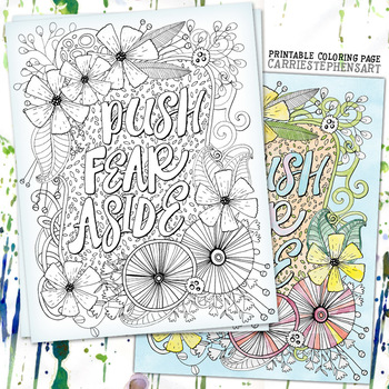 Push Fear Aside Coloring Page Printable, Inspirational, Success, Brave, Persist