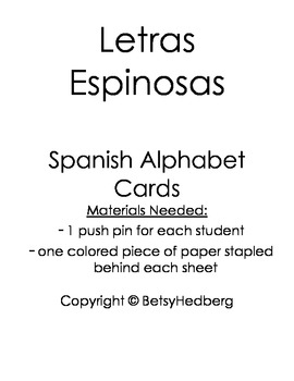 Push Pin Letters in Spanish - Letras Espinosas Center Activity