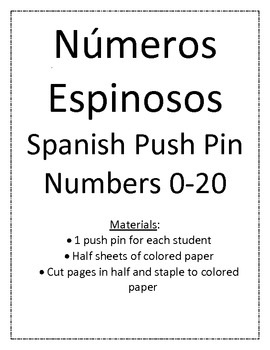 Push Pin Numbers in Spanish - Números Espinosos