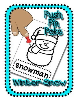 Push Pin Poke No Prep Printables for Winter - Snow - 24 Pictures & Word Boxes