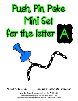 Push Pin Poke Sheets for Letter A - Fine Motor for the Alphabet