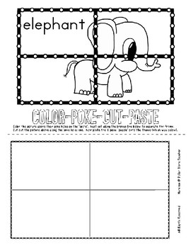Push Pin Poke Sheets for Letter E - Fine Motor for the Alphabet